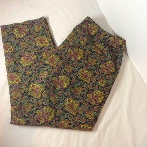 Talbots paisley ankle/crop pants